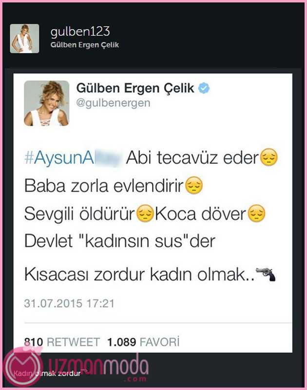Gülben Ergen tecavüz tweet